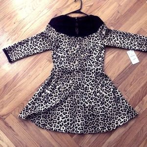 LEOPARD PRINT BLACK LACE NECK- ZARA